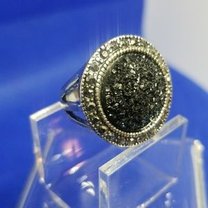 Black Crystal Druzy and Marcasite Ring
